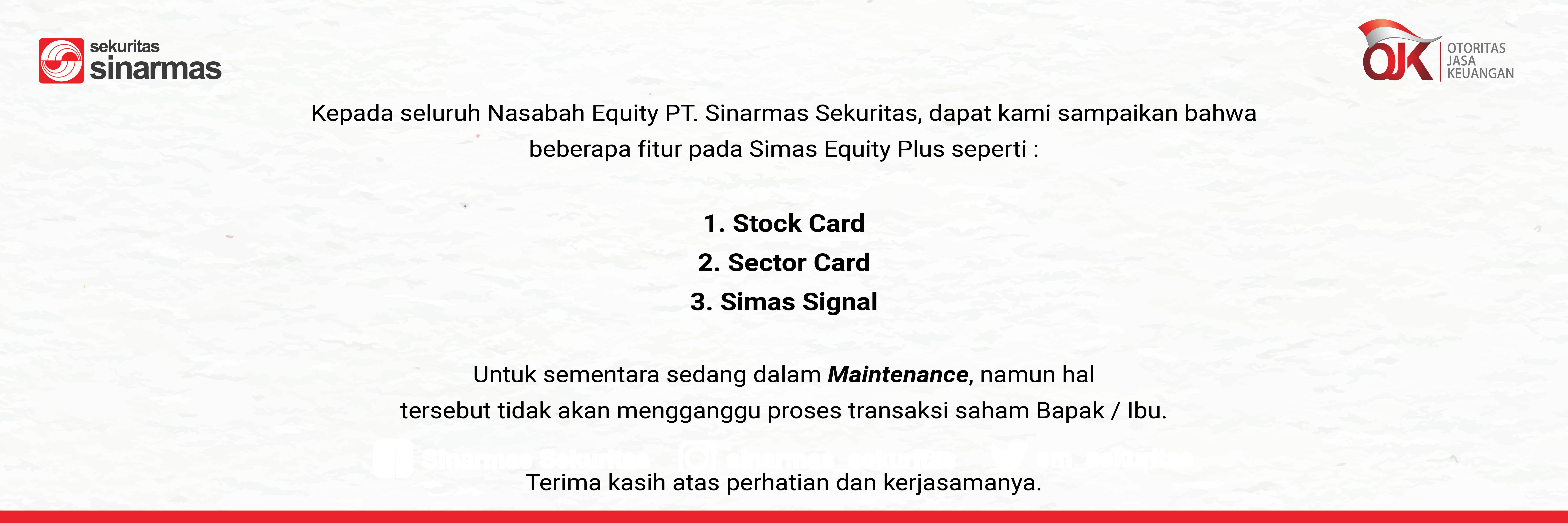 Maintenance Fitur Simas Equity Plus